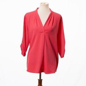 Calvin Klein women's Pink Rolled Sleeves Blouse XL